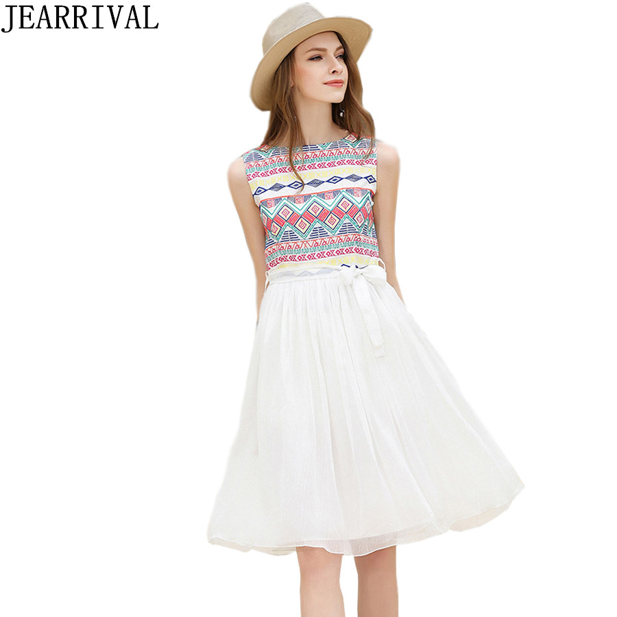 Embroidery Summer Dress 2017 New Women European Fashion Vintage Ethnic Style Sleeveless Tunic