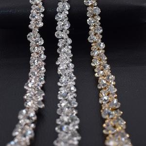 Оптовая продажа, 5 ярдов, стеклянные хрустальные стразы, отделка для свадебного украшения, серебряные стразы, цепь, ремень для невесты, DIY Appliques