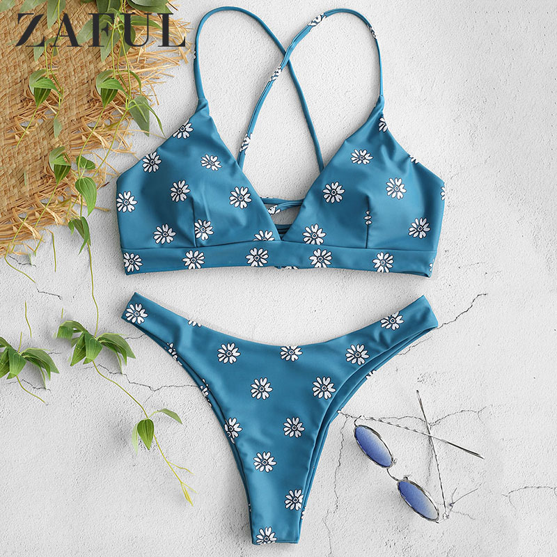 ZAFUL Bikinis Set Printing Floral Swimwear Sexy Bikini Push Up Swimsuit Female Swimming Bathing Suit For Women Swim Biquini