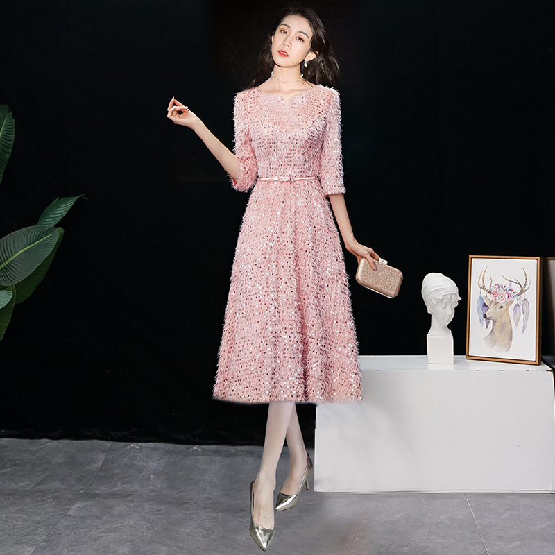 Black Pink Red Cocktail Dresses Half-sleeves Sequined Formal Dress Royal Tassel Zipper Back Knee-Length A-line Party Gowns E322
