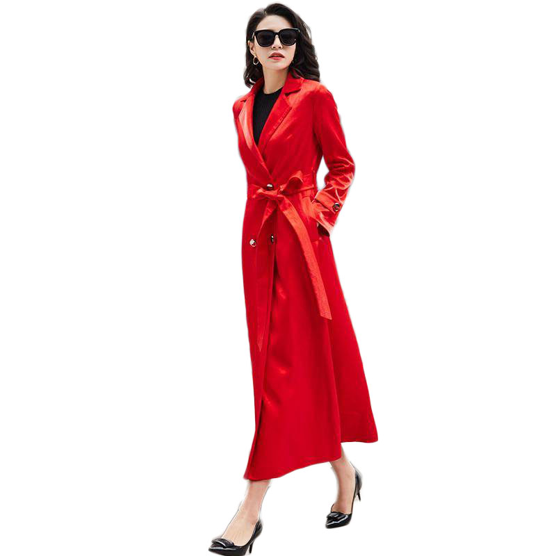 2019 Spring Autumn High Quality   Trench   Coat Women's Casual X-Long Outerwear Slim Clothes Lady Double-Breasted Belt Overcoat M157