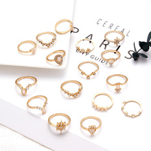 Cuteeco 16 Pcs/set Vintage Gem Crown Crystal Geometry Star Gold Finger Ring Set Bohomian Charm Wedding Jewelry Engagement Gift