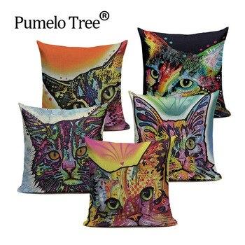 Новые Красивые наволочки для подушек милые кошки наволочки для подушек акварельные наволочки для подушек поп-арт домашний декоративный че...