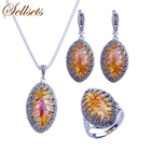 Sellsets Silver Color Fashion Jewellery Necklace Set Vintage Black Rhinestone And Marquise Shape Resin Women Jewelry Sets