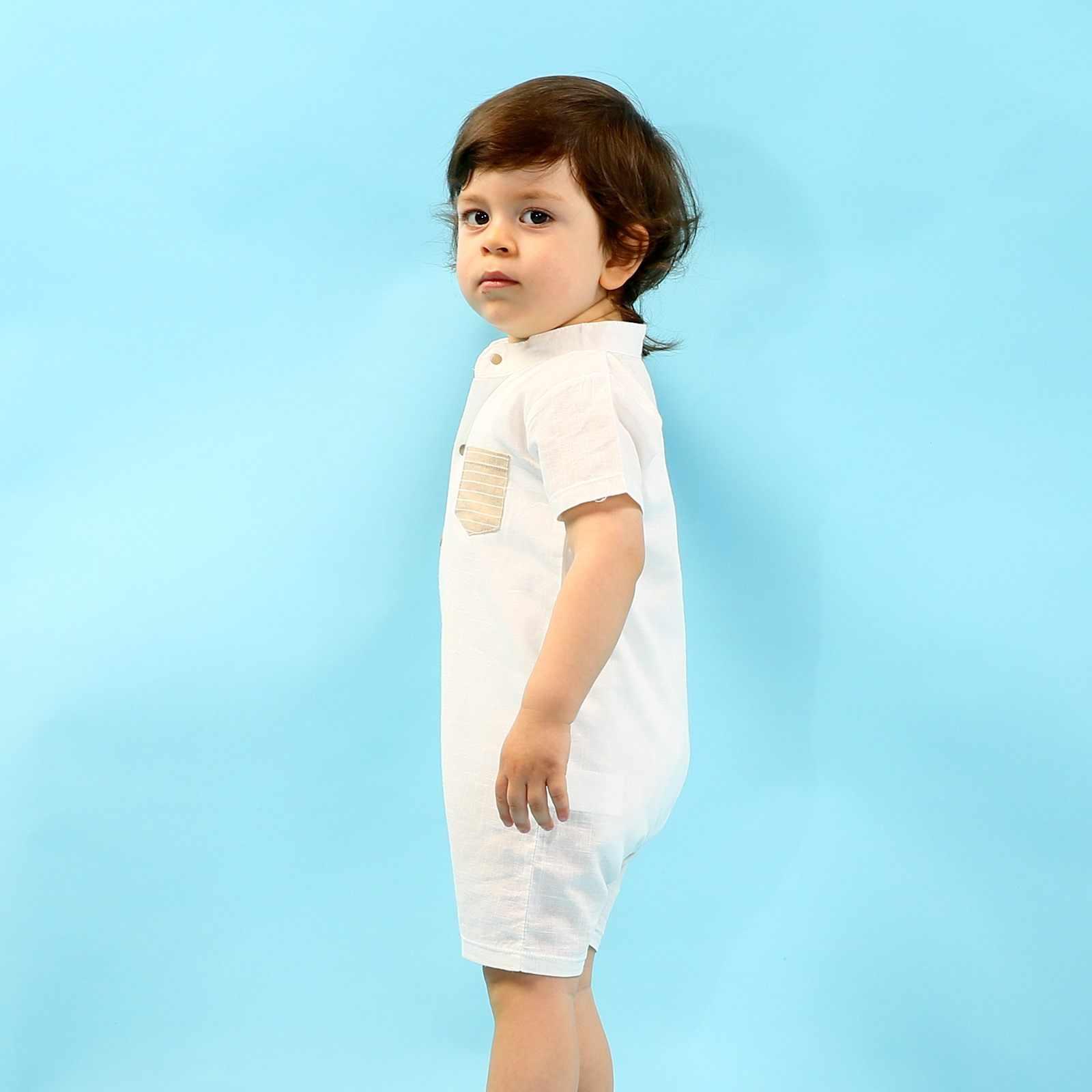 Pelele corto con cuello Polo de lino para bebé