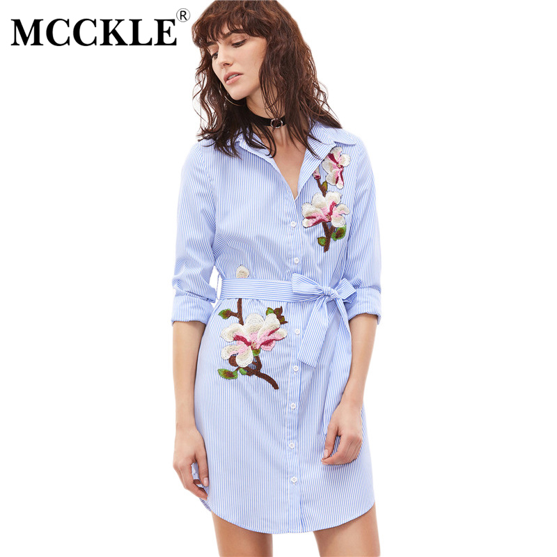 MCCKLE Official Store MCCKLE Women's Fashion Dresses Blue White Striped Embroidery Dress Button Long Sleeve  Belt  Embroidery Sashes Dress Shirt