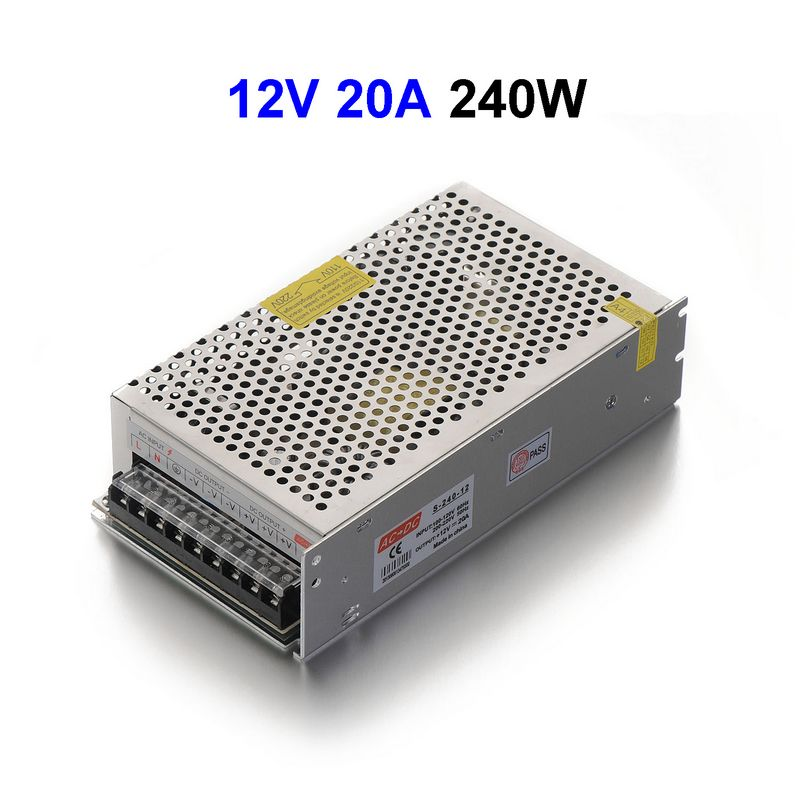 DC12V 20A 240W Switching Power Supply Adapter Driver Transformer For 5050 5730 5630 3528 LED Rigid Strip Light ac 85v 265v to 20 38v 600ma power supply driver adapter for led light lamp