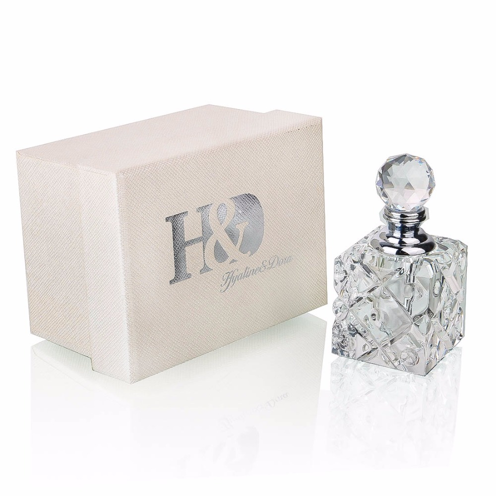 H&D Clear Vintage Crystal Perfume Bottle Empty Glass Art Bottle Lady Xmas Gift 5ml Wedding Home Decor Empty Refillable Container