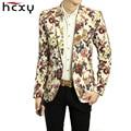 HCXY mens Blazer Hombres Floral Ocasional Delgado Blazer jacket 2016 nueva Llegada de La Manera Del Partido de Un Solo Pecho Hombres Traje Chaqueta Tamaño M-2XL