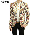 HCXY mens Blazer Homens Florais Casual jacket Magro Blazer 2016 novo Partido Da Forma de Chegada Único Breasted Men Suit Jacket Tamanho M-2XL