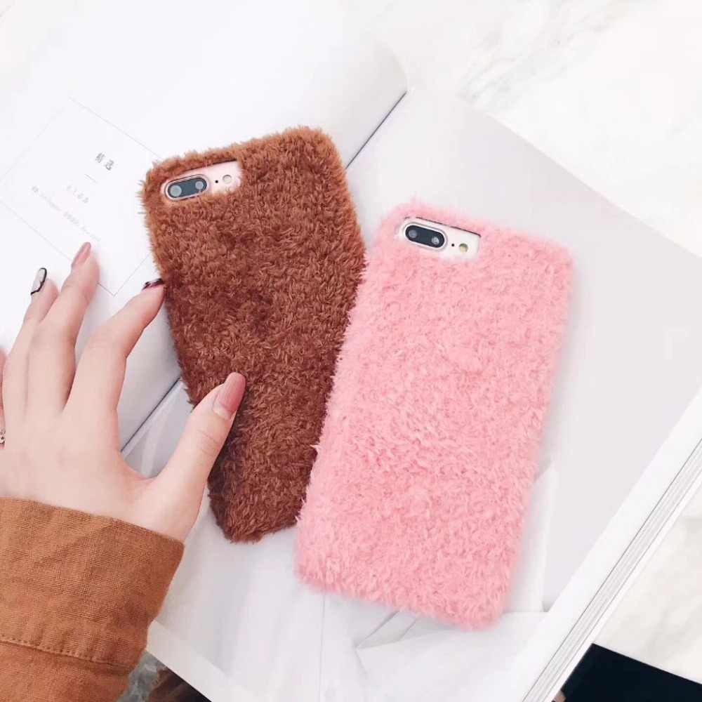 Зимний теплый чехол OLOEY для iPhone 7 8 Plus 6 6 S Plus, роскошный Гладкий плюшевый Меховой чехол для волос, чехол для iPhone 7 8 Plus 6 6 S Plus