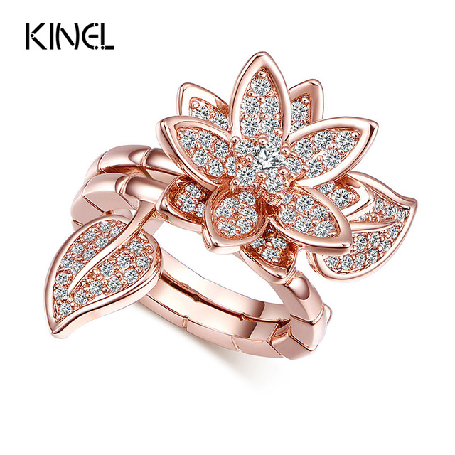 Luxury CZ Diamond Micro Pave Rose Gold Plating Crystal Flower Index Finger Rings For Women Dual mittens Ring