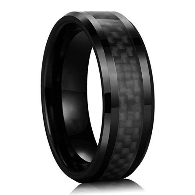 Schwarz Carbon Hartmetall Ring Hochzeits Bander Schmuck Unendlich