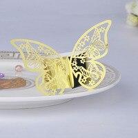 100 adet Altın Lazer Kesim Kelebek Peçete Halkaları Serviette Tutucu Ev Masa Düğün Doğum Günü Anniversray Ziyafet Yemeği Dekor Favor