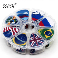 Sports Entertainment - Musical Instruments - Free Shipping 50pcs The National Flag Game Animals Scenery Cartoon Guitar Picks Mix Plectrums+8 Grids Case Bead Box Earrings DIY