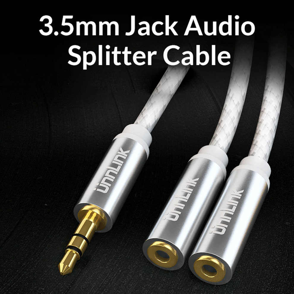 Unnlink 3 bieguny TRS 3.5mm Jack rozdzielacz audio 1X2 rozszerzenie adapter do kabla AUX przewód audio 1 w 2 Out na słuchawki MP3 słuchawki douszne