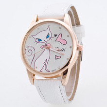 Sweet Cartoon White Cat PU Leather Quartz Casual Wrist Watch Wristwatvhes Bracelet for Women Girls Ladies OP001