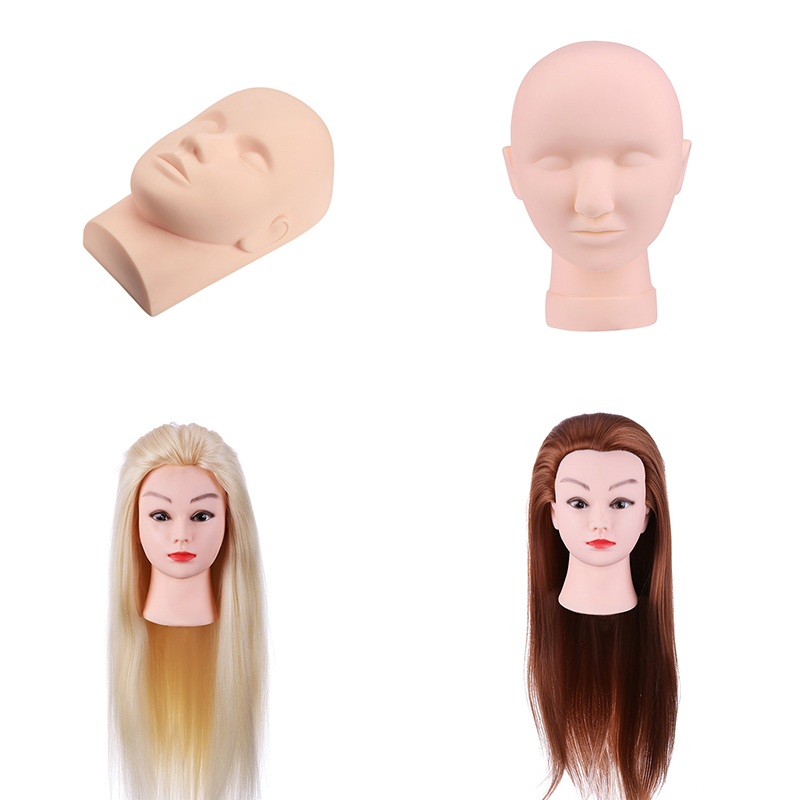 4 style Fake Mannequin Training Head Model Makeup Practice Model Showcase Hats Display Fiber Hair Synthetic Hairdressing