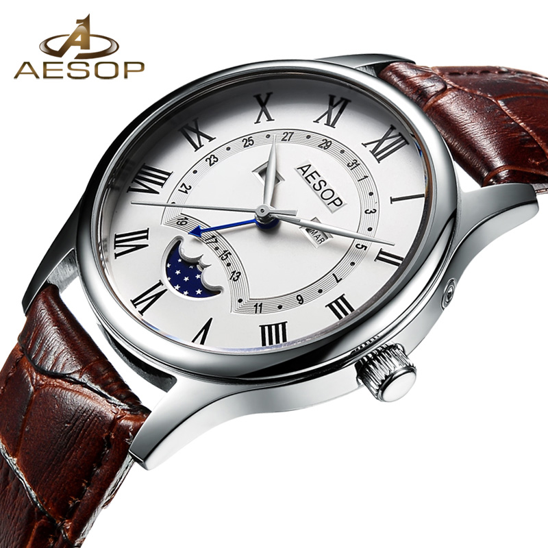 AESOP Fashion Men Watch Men Moon Phase Quartz Wrist Wristwatch Leather Male Clock Waterproof Relogio Masculino Hodinky Box 46