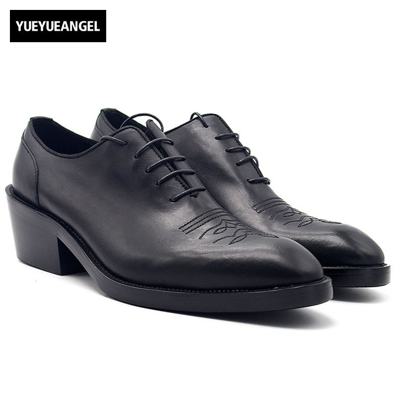 2018 Men High Heels Dress Shoes Fashion Increase Height 6cm Pointed Toe Oxford Shoes for Men Luxury Black Derby Shoes Plus Size fashion rosaceae pattern 6cm width tie for men