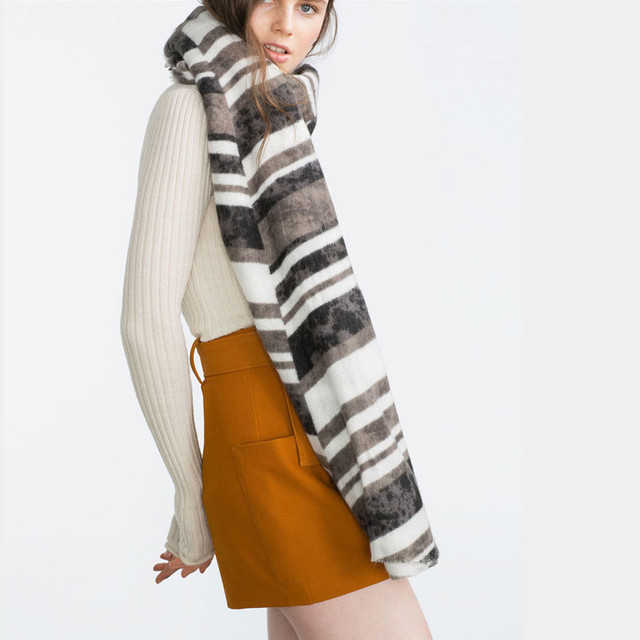 Black White Striped Print New Fashion Scarves Cotton Cashmere Warm Large Pashmina New Winter Women Scarves