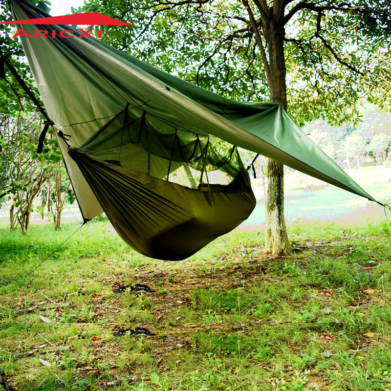 ARICXI outdoor camping Military army green hammock tent tree tent multifunctional tent outdoor multifunctional tent fixed clamp