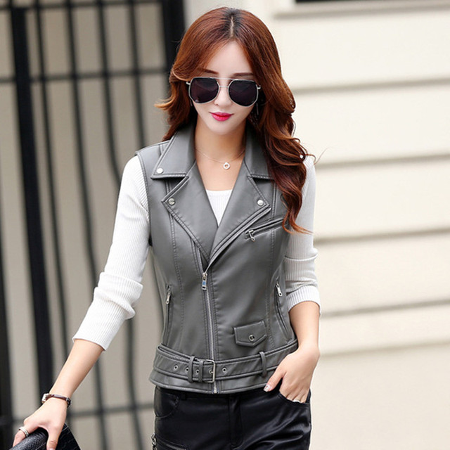 leather jacket  women's spring and autumn fashion Short paragraph PU leather jackets Slim  motorcycle leather vest coat 6605