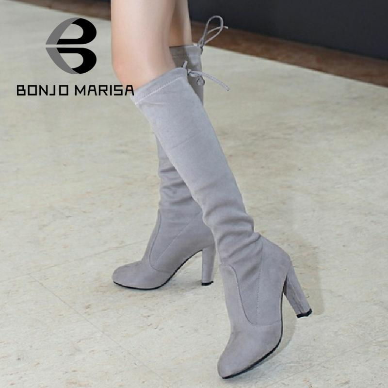 ФОТО BONJOMARISA Big Size 34-46 Sexy Stretch High Heel Knee High Boots Women Autumn Winter Shoes Flock Lycra Lace Up Long Boots Woman