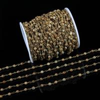 4mm Picture Stones Faceted Round Beads Fashion Chains,5meters sale Bulk Wire Wrapped Bronze Copper Links Rosary Chains Findings