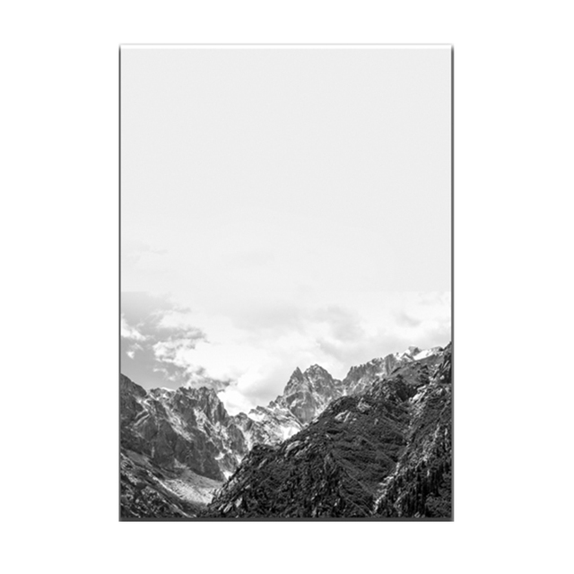 Simple style black white snow mountain a3 unframed canvas art hd printed oil paintings posters pictures