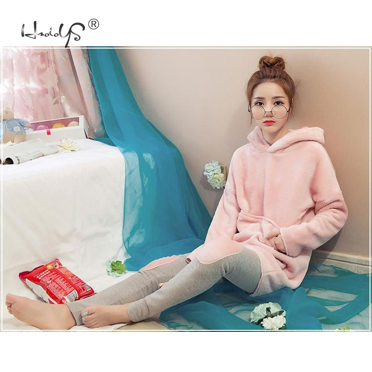 Image 2 - Pink Flannel Thick Sleepwear Women Winter 2 Piece Set Pajamas Set Hooded Cartoon Pyjamas With Pocket Female Casual Home Clothing-in Pajama Sets from Underwear & Sleepwears