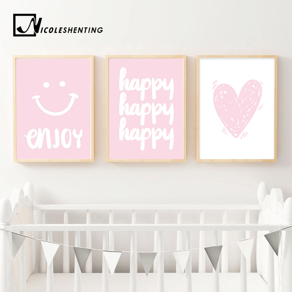 Pink Cartoon Funny Poster and Print Minimalist Wall Art Canvas Painting Nusery Wall Picture for Girl Baby Living Room Decoration