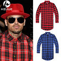 New Extended Long High Low Side Zipper Unisex Man Swag Shirt Tshirt T Shirt Hip Hop Men Streetwear Hem Plaid Blue Red male swag