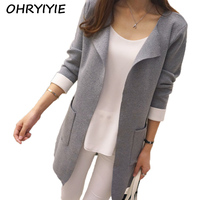 OHRYIYIE Autumn Winter Long Cardigan Sweater Women 2017 New Long Sleeve Knitted Cardigans Female Outerwear Coat