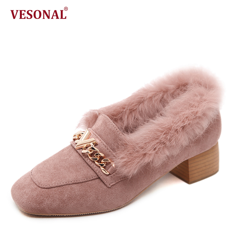 VESONAL Winter Metal Pointe Top Sexy Low Middle Heels Shoes Women Pumps Luxury Faux Fur Fashion Casual Ladies Female Footwear vesonal brand faux fur women shoes flats 2017 winter warm velvet female fashion ladies woman sneakers casual footwear tsj 189