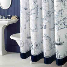 2017 Mediterranean Polyester Sailboat Shower Curtain Waterproof Mildew Thicken Home Bathroom Curtain Custom Made