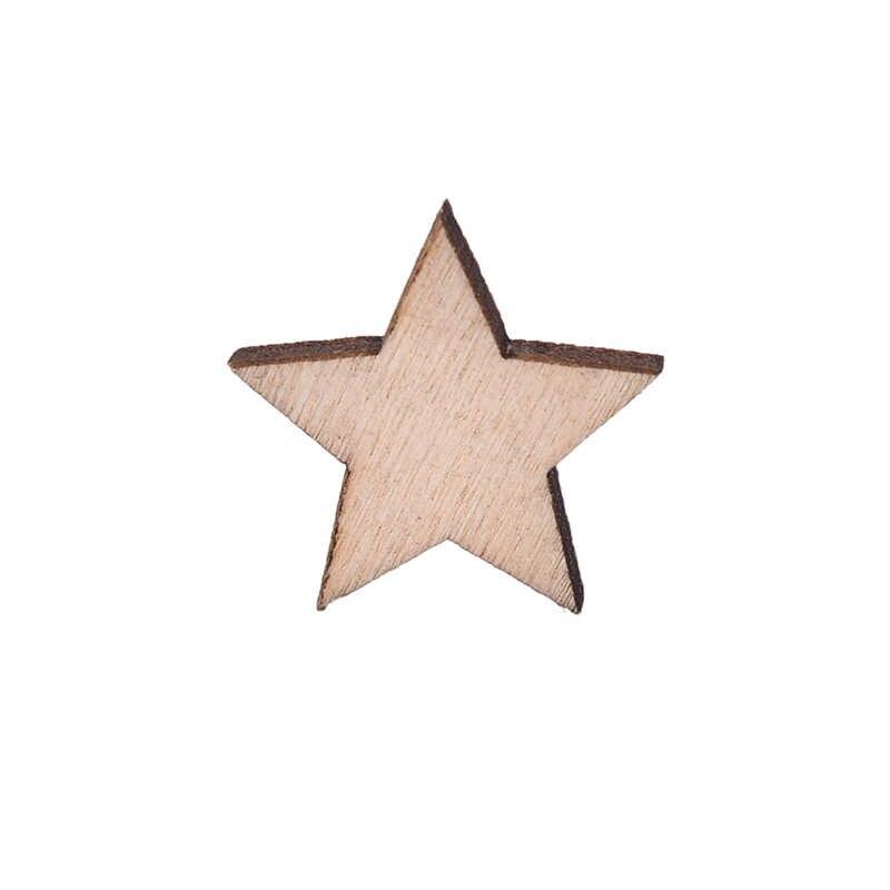 SHNGki 100 قطعة مختلط حجم الطبيعي الخشب ستار عادي رث شيك الحرفية سجل القصاصات خشبية نجوم الديكور DIY سجل القصاصات الحرفية هدية