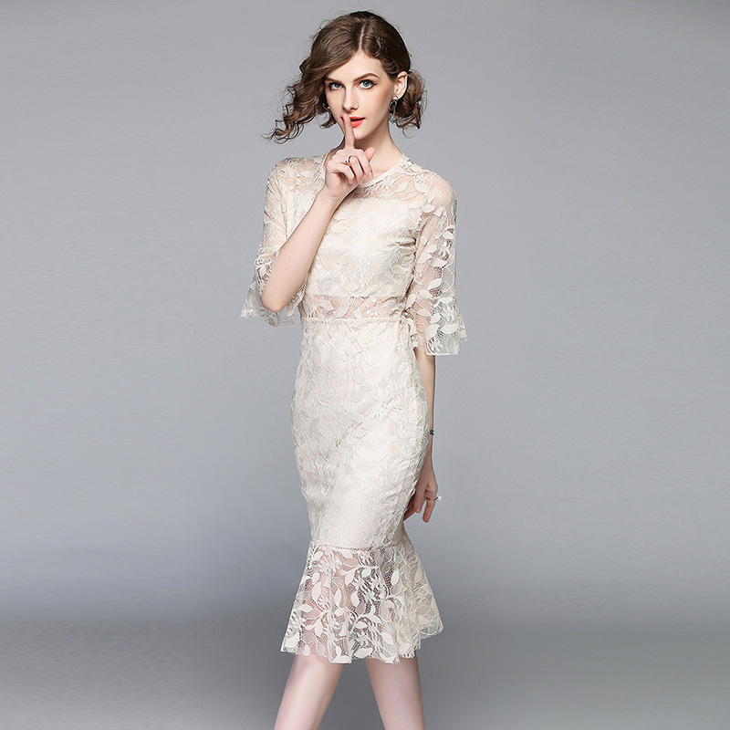 2018 Women Lace Print Floral Hollow Out Mermaid short Dress Summer female sweet style Trumpet ...