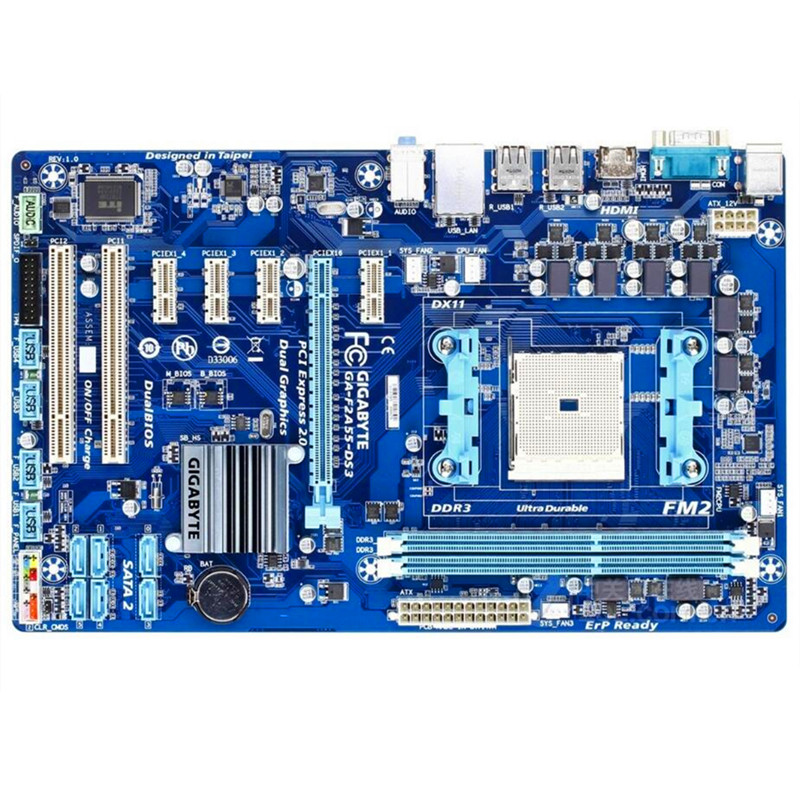 Free shipping 100 original motherboard for Gigabyte GA F2A55 DS3 F2A55 DS3 DDR3 FM2 F2A55 DS3