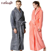 Fdfklak Thick warm winter robe women long sleeve flannel bathrobe women's sleepwear home clothes couple's robes bath robe