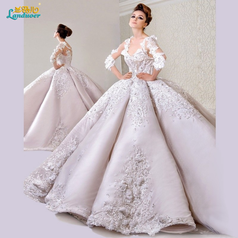 Dw2815 Princess Ball Gown Wedding Dresses 2017 Lace With: Wedding Dress 2017 Cathedral Long Train Ball Gown Princess