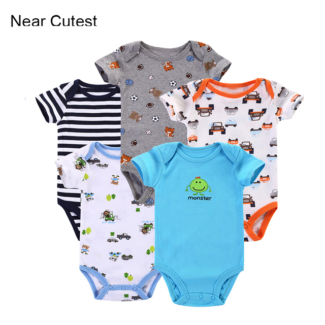 13db8114e Near Cutest 5pcs lot Baby Romper Baby Wear Jumpsuit Short Sleeve ...