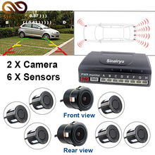 Sinairyu Automotive Parking Sensor System with 6PCS 22M Sensors(2 entrance four rear) Help Entrance and Rear Digital camera Connecting with Monitor