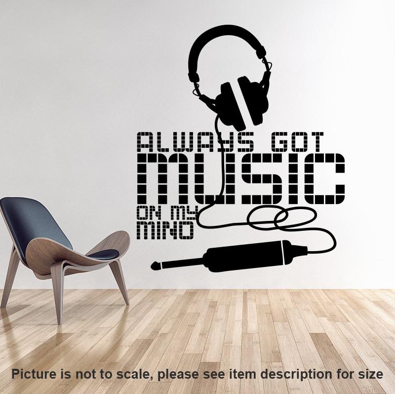 Művészi új dizájn Mindig zenét kapott a fejemben Faldekoráció - Lakberendezés