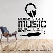 Art New Design Allways Got Music On My Mind Wall Sticker Home Decor Headset Decal Removable House Decoration Earphone