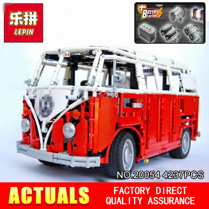 Lepin 20054 4237Pcs The MOC Technic Series The Remote Control T1 Classic Volkswagen Camper Set 10220 Building Blocks Bricks Toys цена и фото