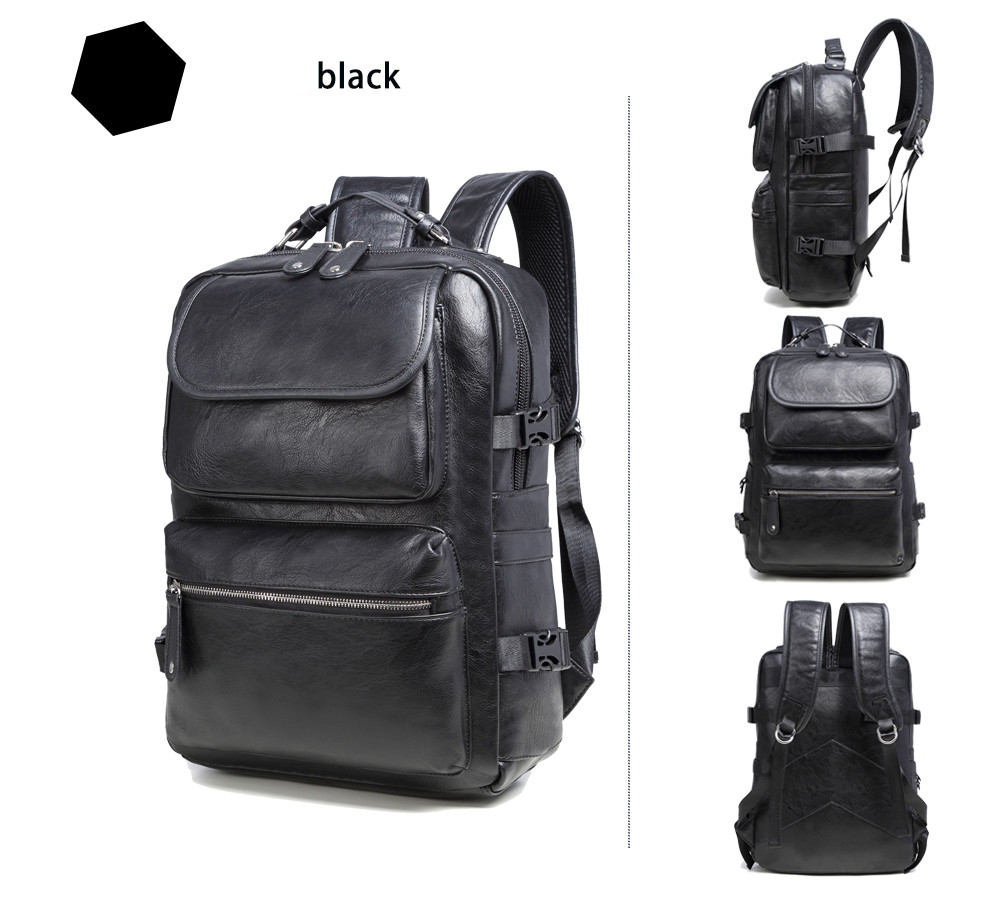 2017 Brand Preppy Style fashion Leather School Backpack Bag For College Simple Design Men Casual Daypacks mochila male New