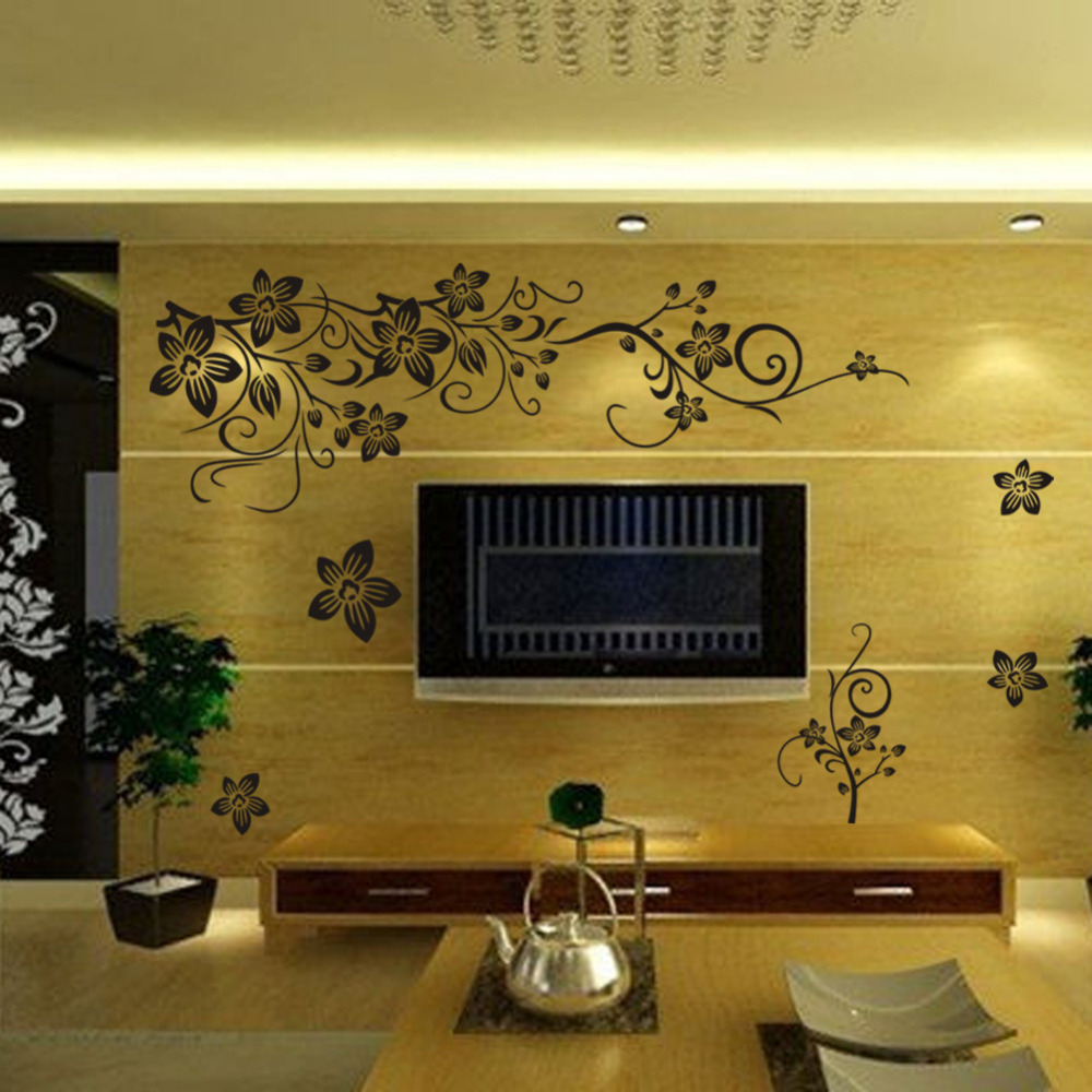 Free shipping DIY Flower Vine Art Wall Stickers PVC Vinyl Wall Mural ...