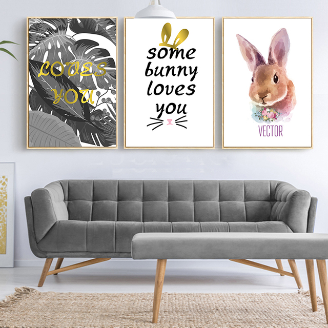 Wall Art Picture Cartoon Peter Rabbit Some Bunny Loves You Painting ...