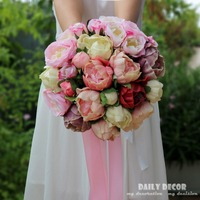 PU peony Artificial flower wedding bouquet Bridesmaid holding flower for wedding bridal bouquet de noiva bouquet de mariage pink